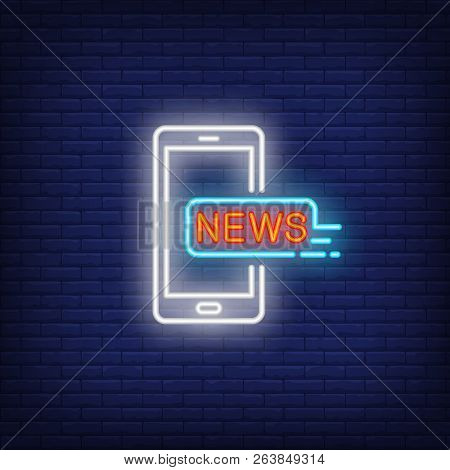 Smartphone With News Inscription Neon Sign. Glowing Smartphone Message About Latest News On Dark Blu