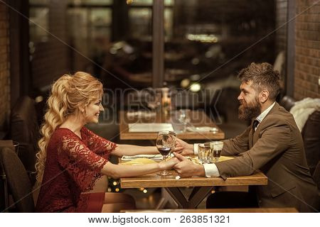 Proposal And Anniversary. Valentines Day With Sexy Woman And Bearded Man. Business Meeting Of Man An