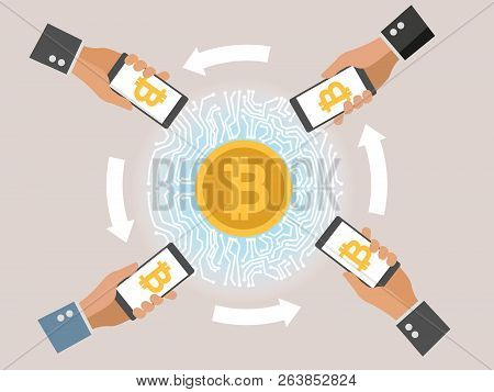 Mobile Bitcoin Business With Hand Holding Smartphone. Circular Arrows. Bit Coin Exchange And Transfe
