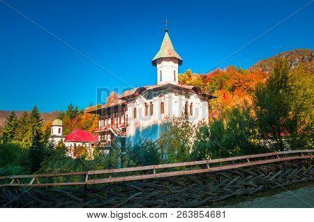 Turnu Monastery, Cozia Mountain, Romania. The Monastery Is Located Near Calimanesti Caciulata, Valce