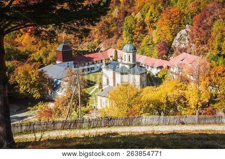 Stanisoara Monastery In Cozia National Park. Autumn In Cozia, Carpathian Mountains, Romania.