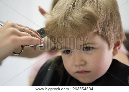 Professional Styling. Cute Boys Hairstyle. Little Child Given Haircut. Small Child In Hairdressing S