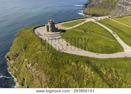 Aerial View Of The World Famous Cliffs Of Moher In County Clare Ireland. Cliffs Of Moher Global Geop