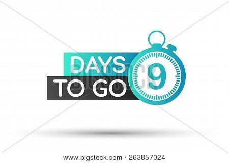 9 Days To Go Flat Icon. Vector Stock Illustration.