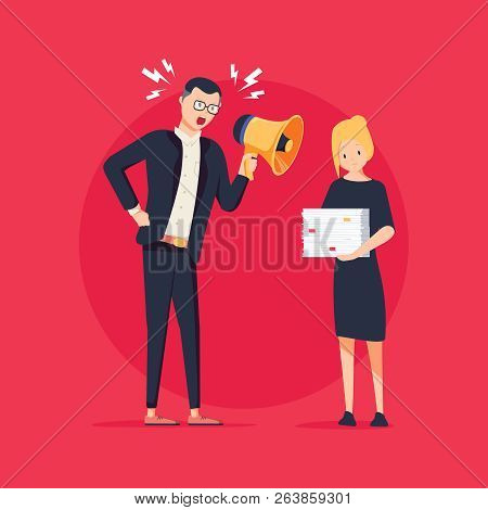 Vector Cartoon Illustration Of Angry Boss And Frightened Employee. Man Standing Near The Table, Woma
