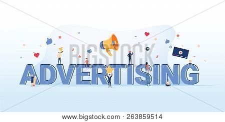 Advertising Concept Illustration. Idea Of Promotion And Marketing. Online Advertisement Business Mar