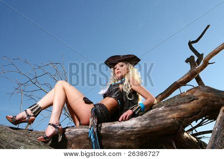 a beautiful blond woman in pirate image