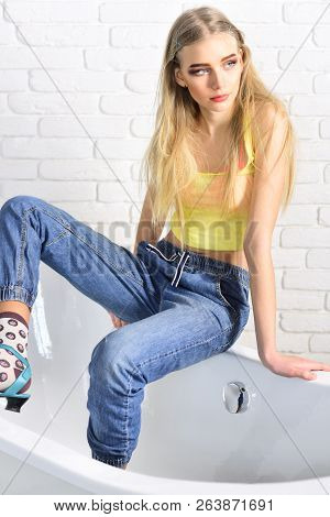 Beauty And Fashion Look Of Vogue Model. Fashion Portrait Of Woman. Hip Hop Girl With Fashionable Hai