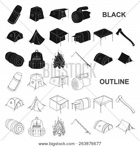 Different Kinds Of Tents Black Icons In Set Collection For Design. Temporary Shelter And Housing Vec