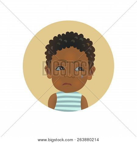 Resentful Afro American Child Emoticon. Cute African Offended Baby Emoji. Discontent Dark-skinned To