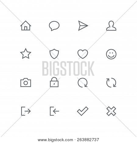 Main Outline Icon Set - Home, Chat, Airplane, Man, Star, Shield, Heart, Smile Face, Photo Camera, Lo