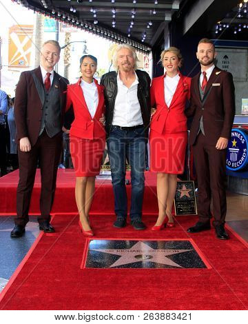 LOS ANGELES - OCT 16:  Sir RIchard Branson, VIrigin Airlines staff at the Sir Richard Branson Star Ceremony on the Hollywood Walk of Fame on October 16, 2018 in Los Angeles, CA