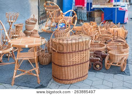 Wickerwork For Sale On The Street Of The City