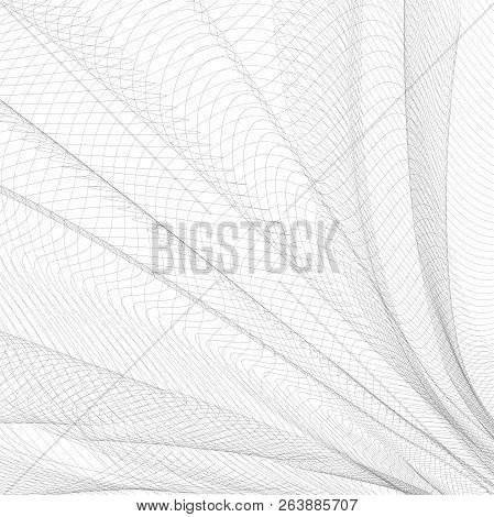 Abstract Folded Network. Gray Waving Thin Lines, Curves. Vector Monochrome Striped Background. Line