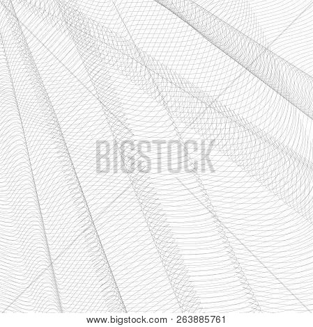 Abstract Creased Network. Gray Undulating Subtle Lines, Curves. Vector Monochrome Striped Background