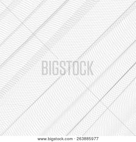 Abstract Folded Net. Gray Ripple Thin Lines, Curves. Vector Monochrome Striped Background. Line Art