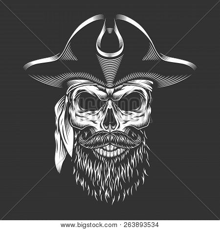 Pirate Skull With Beard And Mustache In Vintage Monochrome Style Isolated Vector Illustration
