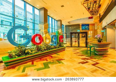 Singapore - May 5, 2018: Google Sign In The New Offices Of Google Headquarters In Mapletree Business