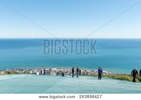 Cape Town, South Africa, August 9, 2018: The Paraglider Launch Pad On Signal Hill In Cape Town In Th