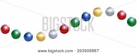 Christmas Balls. Golden, Silver, Red, Green And Blue Glossy Christmas Tree Balls With Snowflake Orna