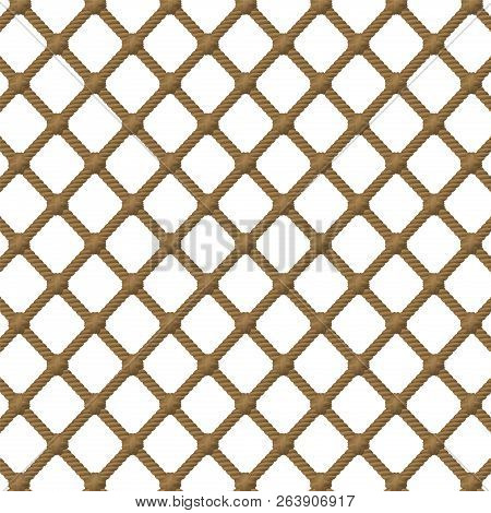 Rope Net Pattern. Isolated Vector Illustration On White Background.