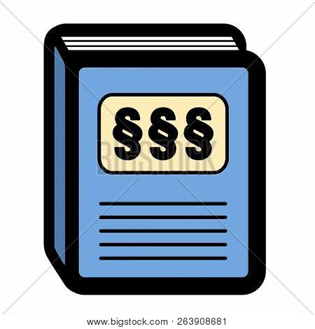 Legal Code Statute Book Icon. Pictogram With Three Paragraph Signs On A Blue Cover. Isolated Vector