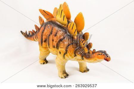 Stegosaurus Dinosaur Toy Model, Isolated On White Background