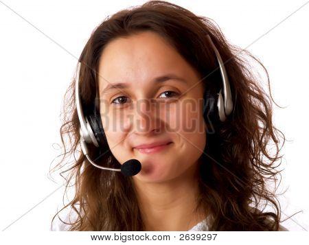 Woman Wearing A Headset