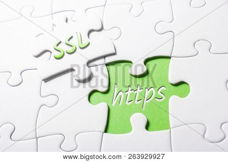 The Words Ssl And Https In Missing Piece Jigsaw Puzzle