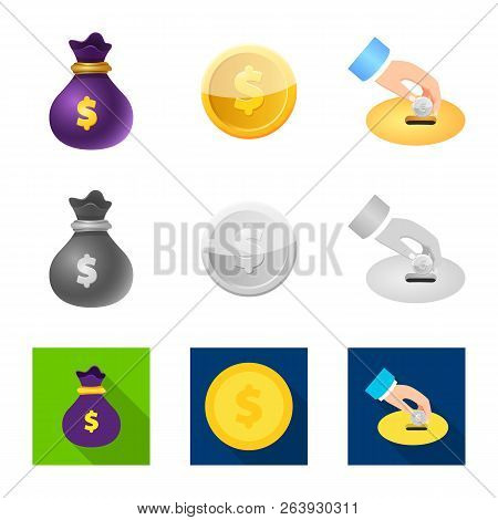 Vector Illustration Of Bank And Money Sign. Collection Of Bank And Bill Stock Symbol For Web.