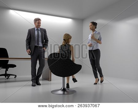 small briefing in the meeting room, 3d illustration