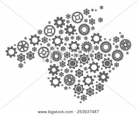 Map Of Majorca Created With Gray Cog Symbols. Vector Abstract Mosaic Of Map Of Majorca With Machiner