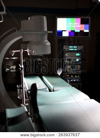 Background Of Modern Operating Room At Medical Hospital Interior With The Anesthesiology Machine Equ