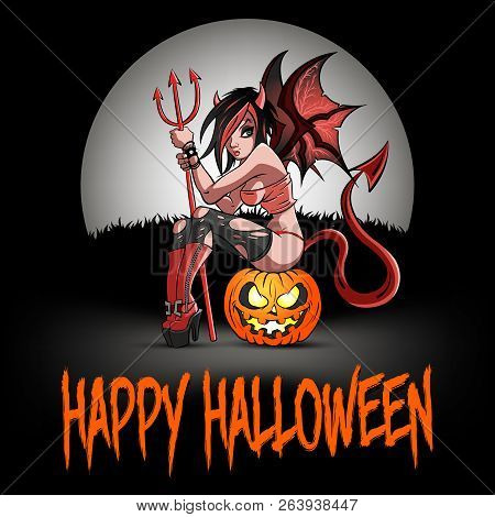 Happy Halloween. Sexy Devil Woman Sitting On A Halloween Pumpkin On The Background Of The Moon. Desi