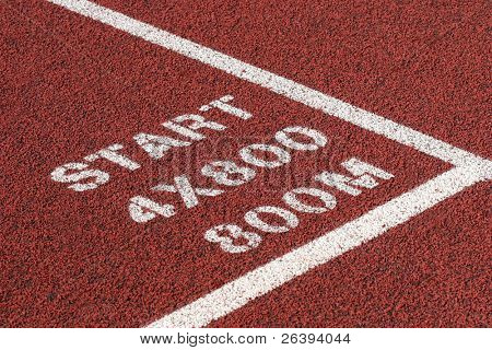 track and field - close up of track with start markings for 800m relay