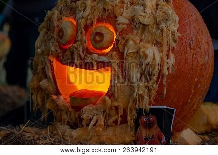 Chadds Ford, Pa - October 18: Gritty The New Philadelphia Flyers Mascot At The Great Pumpkin Carve C