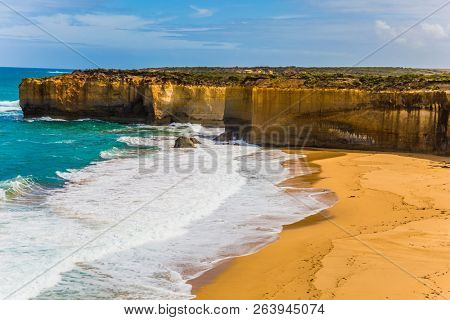 The Great Ocean Road of Australia. Magnificent beach in ocean fjord of Pacific ocean. The concept of exotic, active and photo-tourism