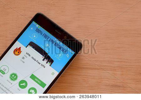 Bekasi, West Java, Indonesia. October 19, 2018 : Vpn - Hola Free Vpn Dev App On Smartphone Screen. V