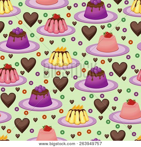 Sweet Snack Seamless Pattern Fruit Jelly Gelatin Wallpaper Repeatable poster
