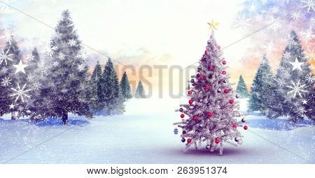 Digital composite of Christmas tree in Winter landscape