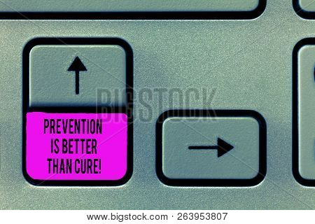 Writing Note Showing Prevention Is Better Than Cure. Business Photo Showcasing Disease Is Preventabl