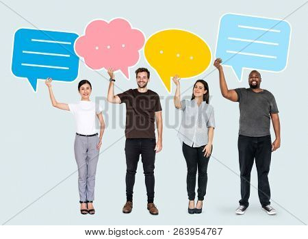People holding colorful speech bubbles