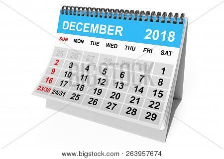 2018 Year Calendar. December Calendar On A White Background. 3d Rendering