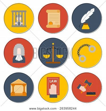 Vector Cartoon Flat Law Justice Icons Background