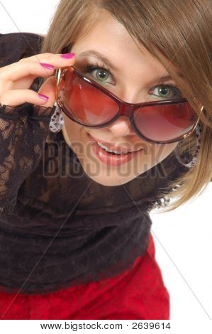 Attractive Girl Look Above Glasses
