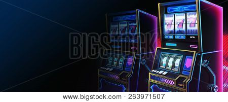 Scifi Slot Machine, Website Header, Serious Themes With Fantastic, Realistic And Futuristic Style.