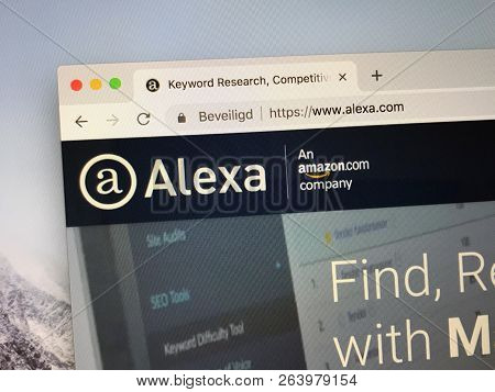 Amsterdam, Netherlands - October 19, 2018: Website Of Alexa, A Virtual Assistant Developed By Amazon
