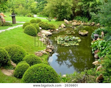 Japanese Garden And Pond