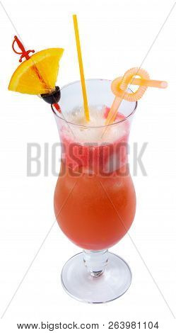 Hurricane Alcohol Cocktail With Lemon And Olive In A Tall Glass. Isolated On A White Background