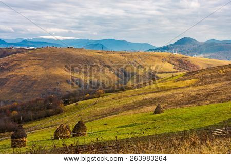 Haystacks On The Rural Fields. Lovely Countryside Scenery In Mountains. Distant Mountain With Snowy